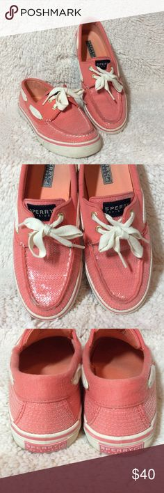 Sperry Top-sider Womens Bahama Boat Shoes Sperry Top-sider Womens Bahama Boat Shoes Coral Jersey Sequin. Very little wear. Two gold eyelets. Sperry Top-Sider Shoes Flats & Loafers