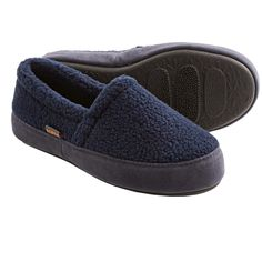 Acorn Tex Moc Slippers - Berber Fleece (For Boys) in Navy