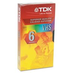 Standard Grade VHS Videotape Cassette, 6 Hours by TDK. $11.00. This VHS video tape is designed for repeated record/erase cycles. Produces an amazingly clear picture. Excellent sound quality. Cassette Type: Video; Cassette Size: N/A; Grade/Quality: Standard; Maximum Recording Time: 6 Hours.