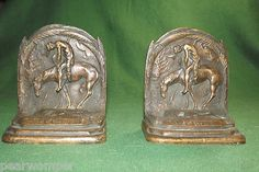 Horse & Cowboy Brass End of the Trail Pair of Bookends NICE BEAUTIFUL
