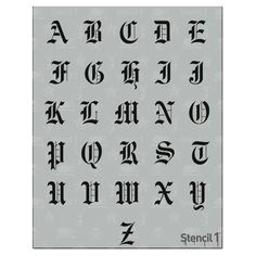 This Old English Font 2 stencil is great for adding letters to your art projects monogramming clothing or creating signs and posters. Our letter stencils are also great for school projects. Old English Font 2 - Letter Stencil x Gray Stencil Lettering, Tattoo Lettering Fonts, Hand Lettering Alphabet, Graffiti Lettering, Lettering Tutorial, Lettering Styles, Calligraphy Alphabet, Calligraphy Fonts, Cool Lettering