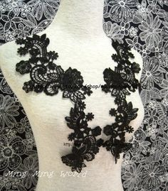 Black Lace Applique  1 pairs Black Flower by mingmingworld on Etsy, $5.60