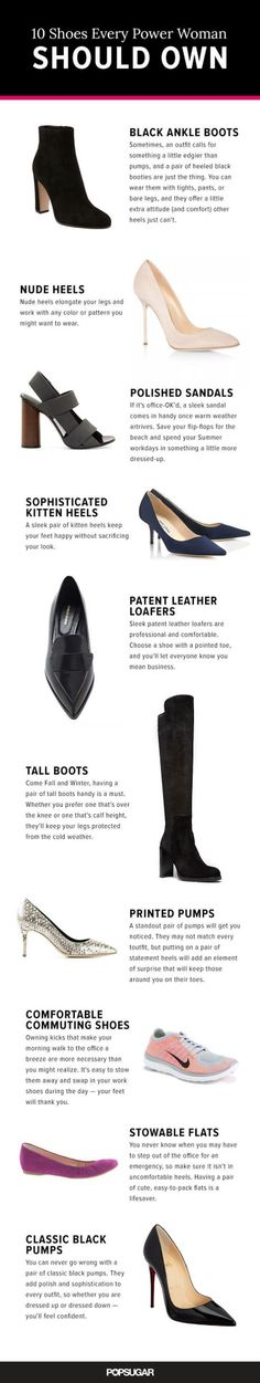 Tendance Chaussures The 10 Shoes Every Power Woman Should Own Tendance & idée Chaussures Femme Description These 10 pairs are the essentials in your work wardrobe: think everything from classic pumps to lust-worthy loafers. Work Fashion, Fashion Shoes, Fashion Tips, Fashion Trends, Style Fashion, Fashion Dresses, Petite Fashion, Trendy Fashion, 80s Fashion