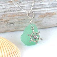 Light Green Sea Glass Pendant Necklace with Nautical Charm...so pretty!