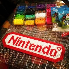 Nintendo logo perler beads by ig_retro4everything