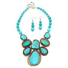 New Turquoise Stone Bib Necklace & Earrings Set