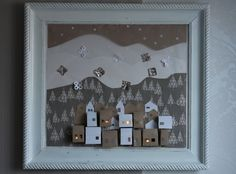 Advent picture - old frame, tracing paper, cardboard natural, white cloth with the motif of trees