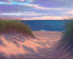 pastel painting: Sunset Beach Path Original Pastel Painting by Poucher