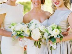 neutral bridesmaid dresses, bridal party inspiration.