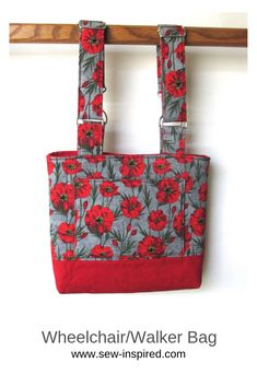 This tote is perfect for holding personal items close while using a walker, wheelchair or even a stroller. There is one exterior pocket and two interior pockets. The straps detach on one end with with swivel clasps and the strap lengths are fully adjustable.