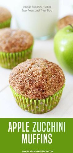 Apple Zucchini Muffins- You get your fruits and veggies in these delicious little muffins! Kids and adults love these healthy muffins! These healthy whole wheat zucchini muffins are perfect for summer! Easy to make too! #apples #zucchini #healthyrecipes #healthyfood #backtoschool More back to school food ideas at twopeasandtheirpod.com. Köstliche Desserts, Delicious Desserts, Dessert Recipes, Yummy Food, Apple Recipes, Baby Food Recipes, Baking Recipes, Apple Zucchini Muffins, Veggie Muffins