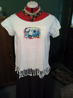 VW Bus Applique Cut Off Cotton Hippie Shirt Fringed & Beaded on Etsy, $15.00