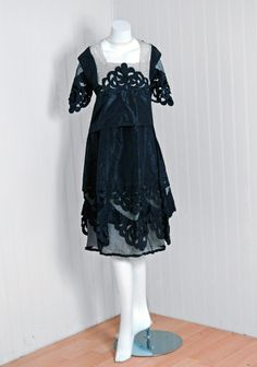 Black cut-out deco silk taffeta and Irish crochet dress 4b89cfa78