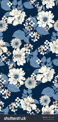 Elegant peony seamless floral pattern stock vector (royalty free) 268633589 - elegant peony seamless floral pattern background over blue elegant peony seamless floral pattern ba - Wallpaper Images Hd, Cute Wallpaper Backgrounds, Flower Backgrounds, Cute Wallpapers, Floral Wallpapers, Wallpaper Designs, Flower Background Wallpaper, Flower Phone Wallpaper, Background Patterns
