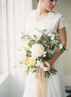 A loose bouquet of white peonies, pale yellow garden roses, and white campanula looks as though it came straight from the garden. It's finished off with a pale peach bow. Timeless Wedding, Trendy Wedding, Floral Wedding, Wedding Colors, Wedding Bouquets, Wedding Styles, Wedding Flowers, Rustic Wedding, Dream Wedding