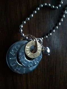 A great wedding gift for the bride who is more down to earth. Took washers and stamped his name on lg one, her name on smaller one, then took a brass washer and used dremel tool to engrave their wedding date on it. Added a bead and a chain...great casual necklace to wear.