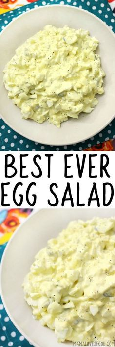 This is the best egg salad recipe, and the only one you'll ever need! Egg salad is such a yummy and easy recipe - perfect for lunch! Egg Recipes, Side Dish Recipes, Dinner Recipes, Cooking Recipes, Healthy Recipes, Slaw Recipes, Sandwich Recipes, Healthy Meals, Yummy Recipes