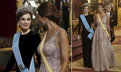 Queen Letizia of Spain had serious competition from Argentina's very glamorous first lady Juliana Awada who stunned in a fairytale ballgown at Madrid's royal palace.