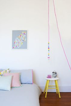 mixing neon and pastels / bedroom inspiration - featured in issue 4 of 91 Magazine