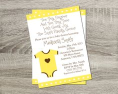 Printable Baby Shower Invitation - Neutral Baby Yellow Onsie 5x7 Invitation http://www.etsy.com/shop/PurpleConfettiPapers