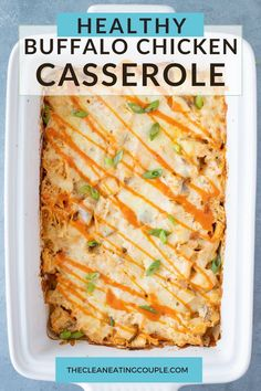 An Healthy Buffalo Chicken Casserole Recipe you'll love! Made with simple ingredients like potatoes & chicken in under an hour for an easy dinner.
