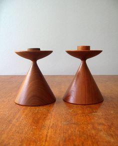 Danish Modern Turned Teak Wood Candle Holders by luola on Etsy