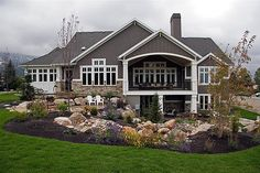 Love the big covered porch and the walk-out basement...and the mountains - Click image to find more Home Decor Pinterest pins