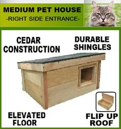 Outdoor Feral Cat House & Shelters| Cedar Durable Inexpensive | ArkWorkshop.com