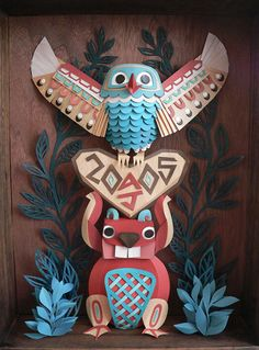 Owl and Beaver Totem pole by Megan Brain found via My Owl Barn - This totem-pole like sculpture was made with paper. Origami Paper, Diy Paper, Diy Craft Projects, Diy Crafts, Clay Projects, Paper Engineering, Paper Illustration, Paper Artwork, Kirigami