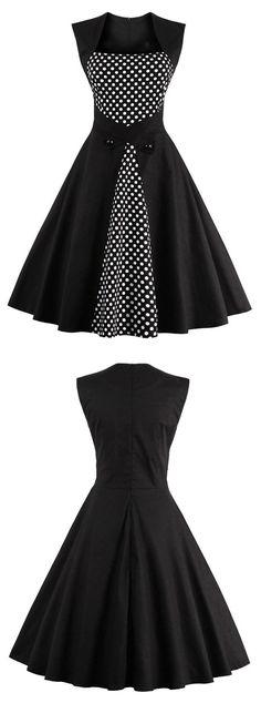 black short dress vintage dress polka dot dress