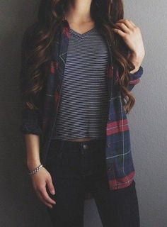 Wheretoget - Black & white striped tee-shirt, navy blue & red plaid long-sleeved shirt, black skinny jeans, and silver bracelet