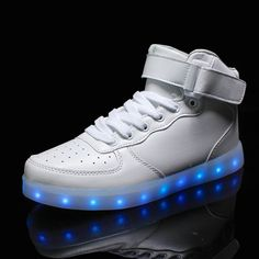 2017 New Kids Boys Girls USB Charger Led Light Shoes High Top Luminous Sneakers casual Lace Up Shoes Unisex Sports for children Small Heel Shoes, Low Heel Shoes, Lace Up Shoes, High Top Sneakers, Casual Sneakers, Casual Shoes, Shoes Sneakers, Kids Sneakers, Black Sneakers