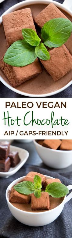 This decadent paleo vegan hot chocolate is ultra rich, creamy and date-sweetened. Also GAPS and AIP-friendly.