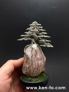 Large Root-over-rock wire bonsai tree by Ken To 90210162