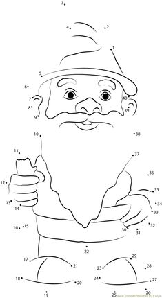 Garden Gnome with Fluffy Beard dot to dot printable worksheet - Connect The Dots