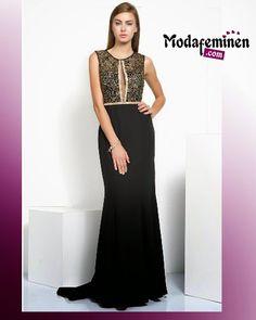 Geçen haftanın en çok satan elbisesi! İroni Ön Şerit Taşlı Elbise- Gold  Hemen İnceleyin: http://www.modafeminen.com #Yeni #Elbise #Siyah