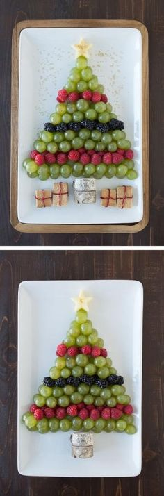 Create a healthy fruit platter for Christmas in the shape of a christmas tree using an apple, grapes, raspberries, blackberries, and graham crackers! by bettie