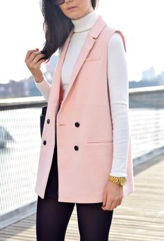 Pink Sleeveless Blazer by lcscloset.com