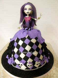 Emery's Cake - Monster High Cake (inspired by Vanilla Lane).  Chocolate cake with chocolate buttercream and salted caramel filling.