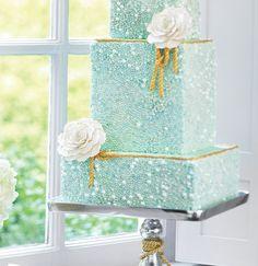 Aqua gold wedding cake.