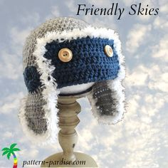 Friendly Skies Aviator Hat - free #crochet pattern from Pattern Paradise! Love the detailing on this one - too cute!