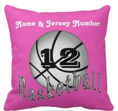 "Basketball Pillows for Girls Basketball Rooms.Her NAME and Jersey NUMBER typed into text boxes. Awesome Basketball Team Gifts for Girls. More: http://giftsforcreativepeople.com/basketball-pillows-girls/  Many basketball gift ideas. We can change the color for you or click the Customize it button, click ""Edit"", then Background and choose a new color or just Call us. Cheap Basketball Gifts Here: http://www.zazzle.com/littlelindapinda/gifts?cg=196162425693614068&rf=238012603407381242*"