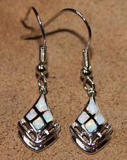 white fire opal earrings Gemstone silver jewelry chic design SSD87V