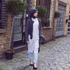 INAYAH | Grey Shirt Dress + Charcoal Grey Cardigan + Black Modal Hijab www.inayahcollection.com  #inayah#inayahcollection#modestfashion