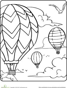 Worksheets: Hot Air Balloons in the Sky Coloring Page