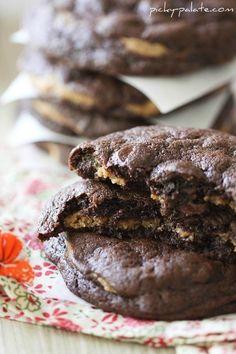 Chocolate Fudge Peanut Butter Cookie Stuffed Cookies - Picky Palate