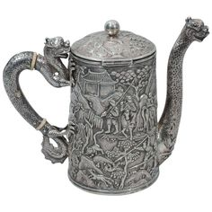 Dramatic Dragon Teapot by Khecheong - Chinese Export Silver - C 1850 | From a unique collection of vintage coffee and tea sets at http://www.1stdibs.com/jewelry/silver-flatware-silverplate/coffee-tea-sets/