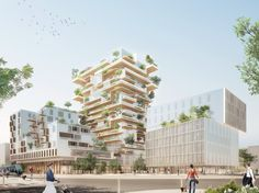 Image 1 of 7 from gallery of Jean-Paul Viguier Designs a Mixed-Use Timber Frame Tower in Bordeaux. Courtesy of Jean-Paul Viguier et Associés Plan Maestro, Timber Buildings, Bordeaux France, Bordeaux 1, Timber Structure, Tower Design, Tours, Exterior, Dezeen
