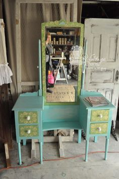 Spring Inspired Aqua Painted Vanity using Le Craie by Maison Blanche paint