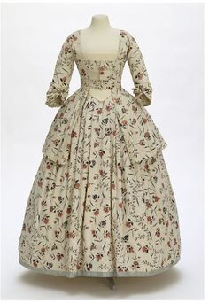 "1770-1780 British Caraco and petticoat at the Victoria and Albert Museum, London - From the curators' comments: ""This young woman's jacket (called a caraco in the 18th century) and matching petticoat are made of painted and dyed cotton fabric (chintz) produced in south-east India's Coromandel Coast for export to Europe in about 1770."""